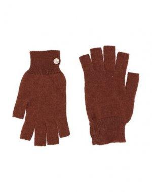Перчатки RICK OWENS. Цвет: ржаво-коричневый