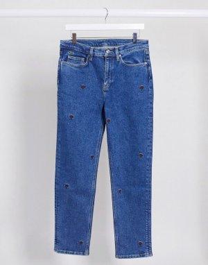 Синие джинсы в винтажном стиле с вышивкой -Синий Lacoste