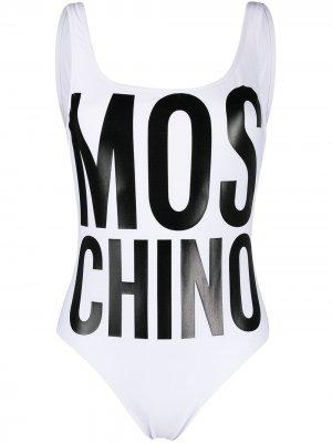 Купальник с логотипом Moschino. Цвет: белый