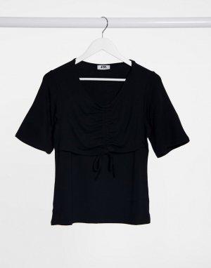 Черная футболка со сборками спереди -Черный Elvi