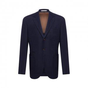 Пиджак из смеси льна и шерсти Brunello Cucinelli. Цвет: синий