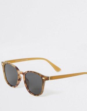 Солнцезащитные очки в коричневой черепаховой оправе -Коричневый цвет River Island