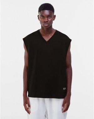 Черный трикотажный oversized-жилет -Черный цвет Bershka