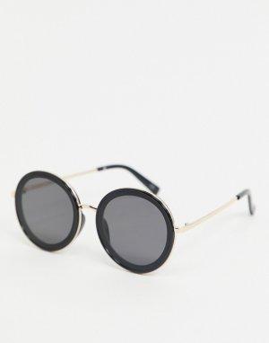 Черные солнцезащитные очки в стиле ретро золотистой оправе -Черный Jeepers Peepers
