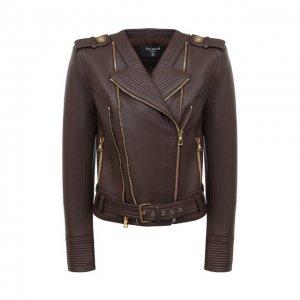 Кожаная куртка Balmain. Цвет: коричневый