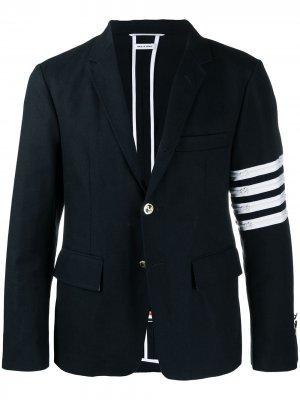 Пиджак с полосками 4-Bar Thom Browne. Цвет: синий