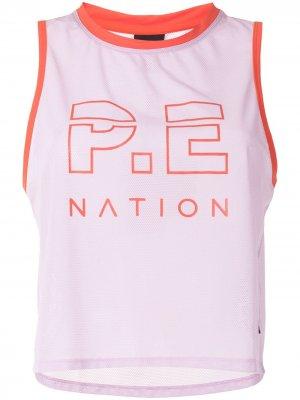 Топ без рукавов с логотипом P.E Nation. Цвет: фиолетовый
