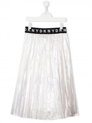 Пышная юбка с логотипом на поясе Dkny Kids. Цвет: белый