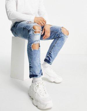Голубые зауженные джинсы с эффектом кислотной стирки и рваной отделкой -Голубой Night Addict