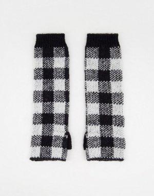 Удлиненные вязаные перчатки-митенки черного цвета в клетку -Черный цвет Boardmans