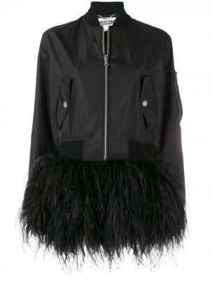 Куртка-бомбер с отделкой перьями Moschino. Цвет: черный
