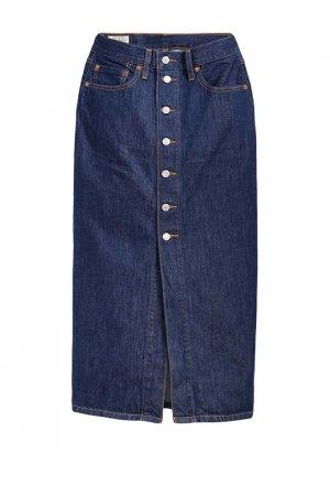 Юбка Button Front Midi Skirt Levis. Цвет: синий