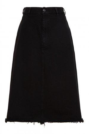 Черная юбка из денима Balenciaga. Цвет: черный