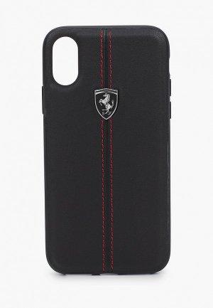 Чехол для iPhone Ferrari X / XS, Heritage W Leather Black. Цвет: черный