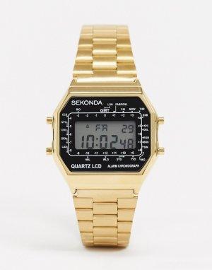 Золотистые цифровые часы -Золотой Sekonda