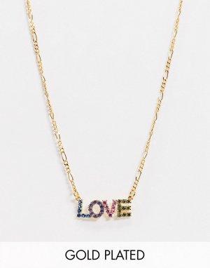 Позолоченное ожерелье с фианитом на подвеске -Золотой ASOS DESIGN