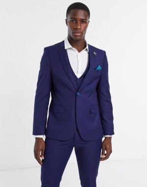 Синий фактурный приталенный пиджак -Голубой Harry Brown