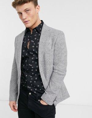 Пиджак узкого кроя в черно-белую клетку от костюма Moss London-Черный цвет BROS