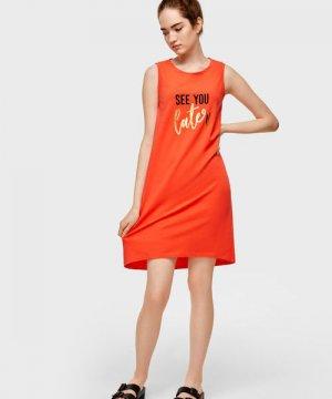 Платье-майка с блестящим принтом O`Stin. Цвет: коралловый