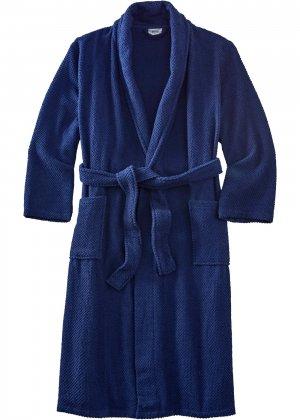 Халат банный из биохлопка bonprix. Цвет: синий
