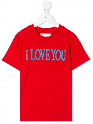 Футболка Love You Alberta Ferretti Kids. Цвет: красный