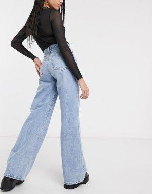Выбеленные широкие джинсы -Синий Topshop