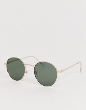 Круглые солнцезащитные очки золотистого цвета AJ Morgan. Цвет: золотой