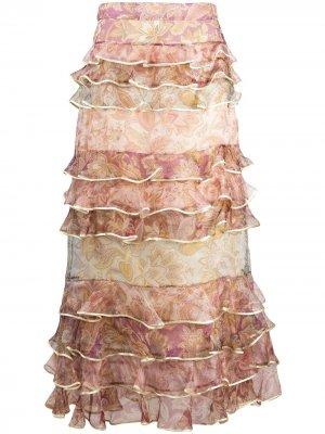 Юбка макси с оборками и цветочным принтом Zimmermann. Цвет: нейтральные цвета