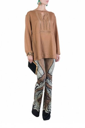 Блуза Alberta Ferretti. Цвет: коричневый