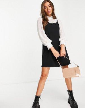 Черный сарафан из многослойной смешанной ткани -Черный цвет Miss Selfridge
