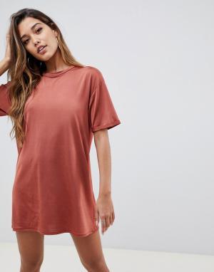 Платье-футболка с отворотами на рукавах ASOS DESIGN. Цвет: оранжевый