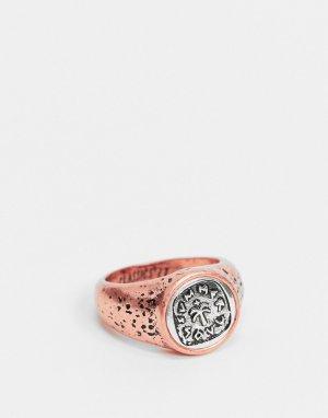 Золотисто-розовый перстень с гравированным украшением из вороненого серебра-Мульти Classics 77