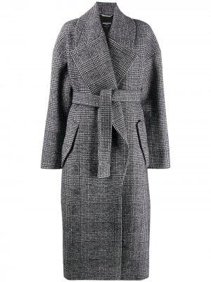 Длинное пальто в ломаную клетку Rochas. Цвет: серый