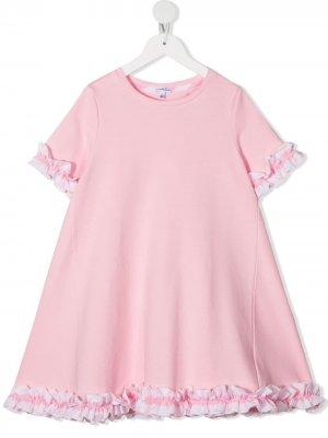 Расклешенное платье с оборками Piccola Ludo. Цвет: розовый