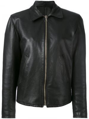 Классическая кожаная куртка Helmut Lang Vintage. Цвет: чёрный