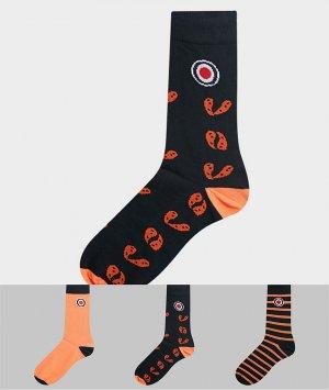 Набор из 3 пар носков (в полоску/с принтом пейсли) -Оранжевый цвет Lambretta