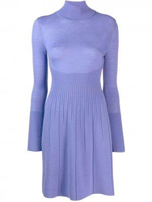 Трикотажное платье-водолазка Versace Pre-Owned. Цвет: фиолетовый