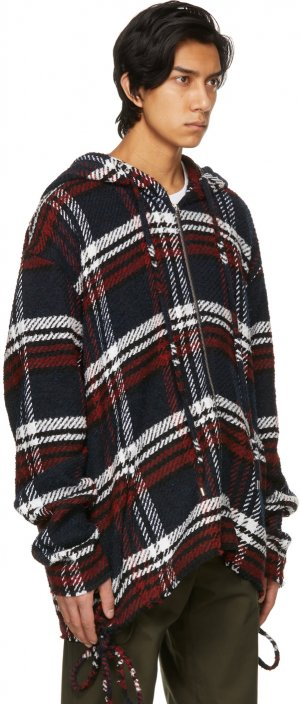 Red & White Wool Checked Hoodie Faith Connexion. Цвет: wht/red/blk