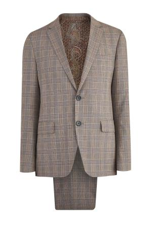 Костюм из шерсти и шелка в классическом стиле ETRO. Цвет: коричневый