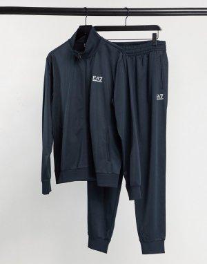 Трикотажный спортивный костюм темно-синего цвета Armani Core ID-Темно-синий EA7