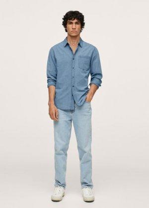 Джинсовая рубашка regular-fit с карманом - Chambre1 Mango. Цвет: светло-синий