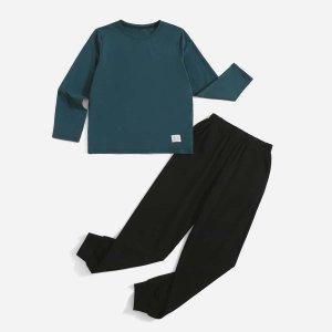 Домашний комплект из футболки и джоггеров для мальчиков SHEIN. Цвет: многоцветный