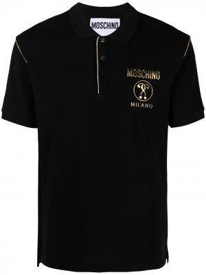 Рубашка поло с контрастной отделкой и логотипом Moschino. Цвет: черный