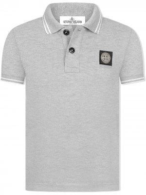 Рубашка поло с нашивкой-логотипом Stone Island Junior. Цвет: серый