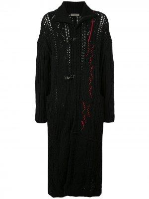 Вязаный дафлкот с контрастной строчкой Yohji Yamamoto. Цвет: черный