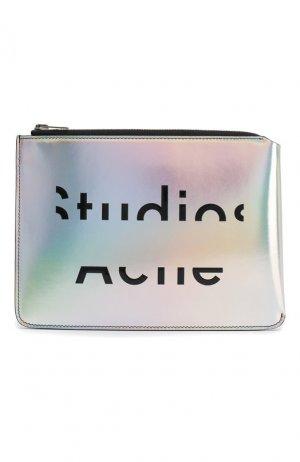 Кожаный футляр для документов Acne Studios. Цвет: серебряный