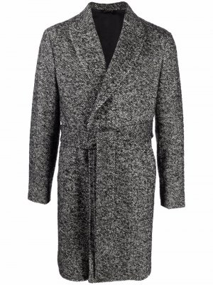 Waist-belt marled knit coat Tonello. Цвет: серый