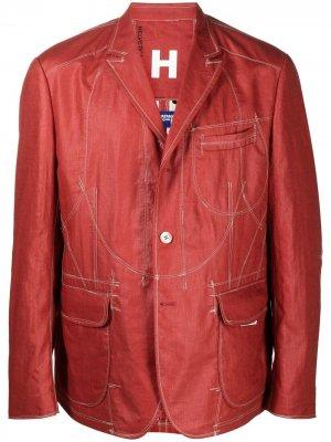 Пиджак с контрастной строчкой Junya Watanabe MAN. Цвет: оранжевый