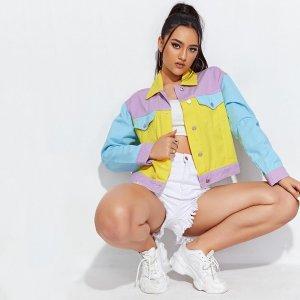 Контрастная джинсовая куртка с карманом SHEIN. Цвет: многоцветный
