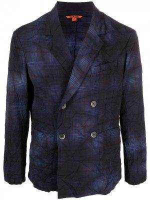 Двубортный пиджак в клетку Barena. Цвет: синий
